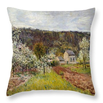 Rainy Spring Near Paris Throw Pillow by Alfred Sisley
