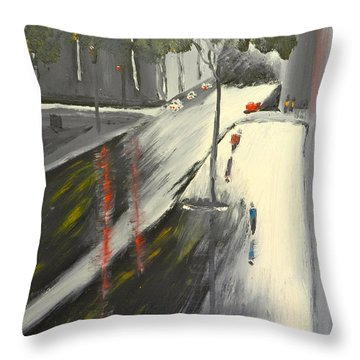 Throw Pillow featuring the painting Rainy Street In Melbourne by Pamela  Meredith