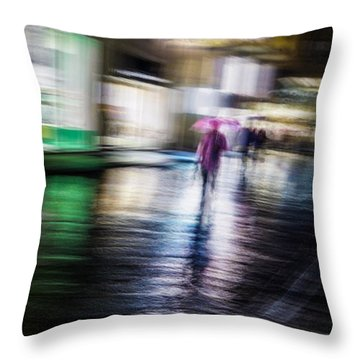 Throw Pillow featuring the photograph Rainy Streets by Alex Lapidus