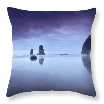 Rainy Sunset Over Cannon Beach Throw Pillow