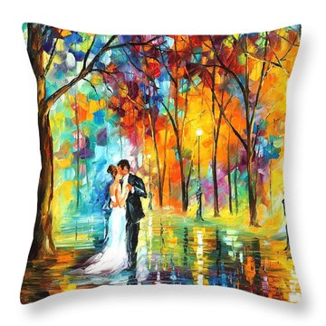 Rainy Wedding - Palette Knife Oil Painting On Canvas By Leonid Afremov Throw Pillow