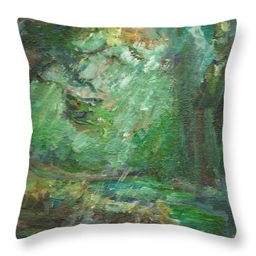 Throw Pillow featuring the painting Rainy Woods by Mary Wolf
