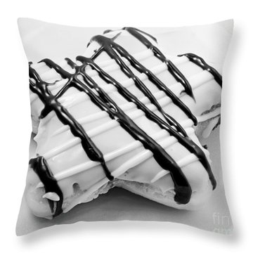 Raised Iced Star Shaped Donut - Chocolate Drizzles - Baker- Bakery - Bw  Throw Pillow by Andee Design