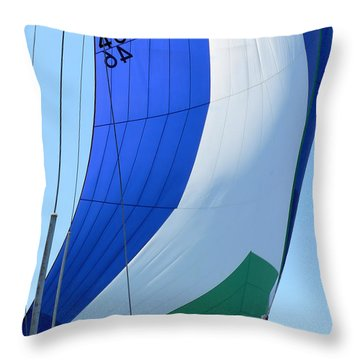 Raising The Blue And Green Sail Throw Pillow