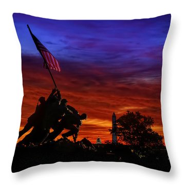 Raising The Flag Throw Pillow