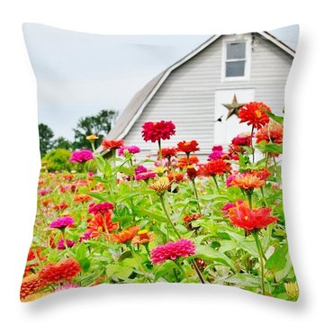 Raising Zinnia Flowers - Delaware Throw Pillow