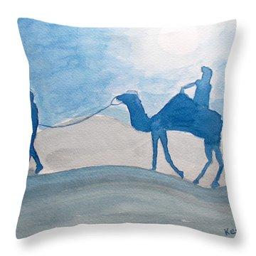 Rajasthani Blues Throw Pillow