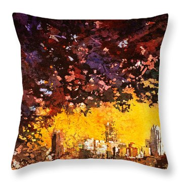 Raleigh Downtown Throw Pillow
