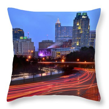 Throw Pillow featuring the photograph Raleigh Skyline At Dusk Evening Color Evening Panorama North Carolina Nc by Jon Holiday