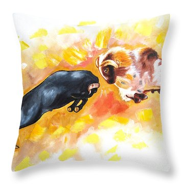 Throw Pillow featuring the painting Ram Fighting... by Ragunath Venkatraman