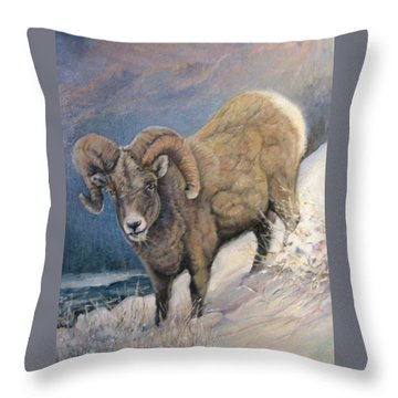 Throw Pillow featuring the painting Ram In The Snow by Donna Tucker