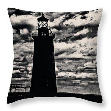 Ram Island Ledge Light Throw Pillow by Karol Livote