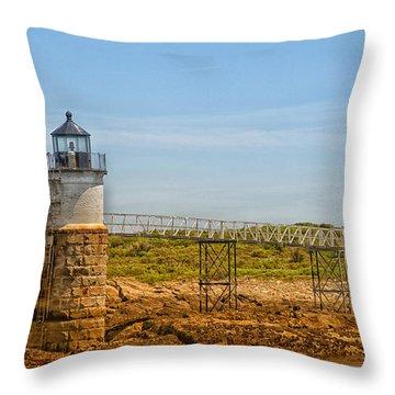 Ram Island Lighthouse Throw Pillow by Karol Livote