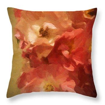 Throw Pillow featuring the digital art Ramblin Rose Memories by Lianne Schneider