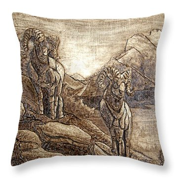 Throw Pillow featuring the relief Rams Relief by Wendy McKennon