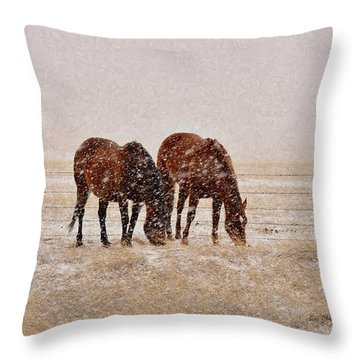 Ranch Horses In Snow Throw Pillow by Kae Cheatham