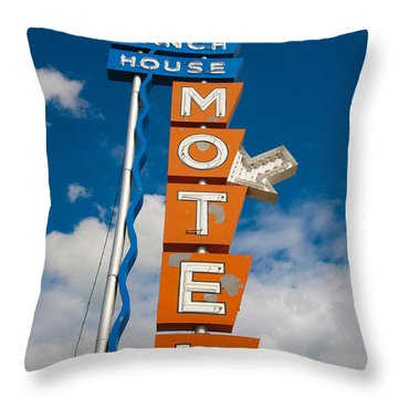 Ranch House Motel Montana Throw Pillow