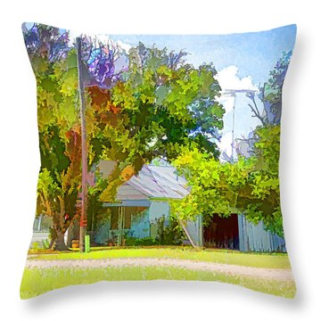 Ranch House Painting Throw Pillow by Linda Phelps