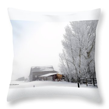 Ranch In Frozen Fog Throw Pillow