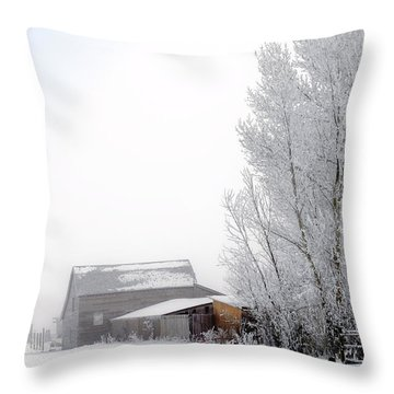 Ranch In Frozen Fog Throw Pillow by Kae Cheatham