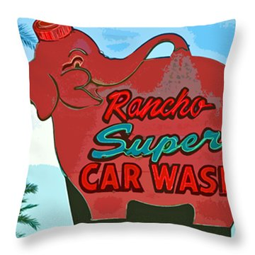 Rancho Super Car Wash Throw Pillow by Charlette Miller