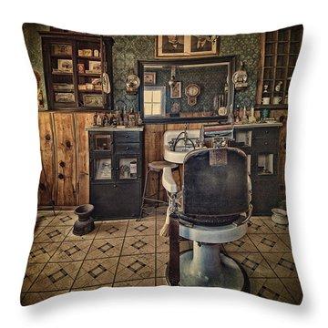 Randsburg Barber Shop Interior Throw Pillow by Priscilla Burgers