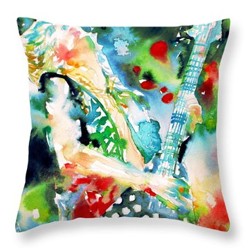 Randy Rhoads Playing The Guitar - Watercolor Portrait Throw Pillow