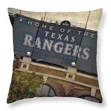 Rangers Ballpark In Arlington Color Throw Pillow by Joan Carroll