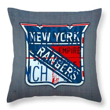 Rangers Original Six Hockey Team Retro Logo Vintage Recycled New York License Plate Art Throw Pillow