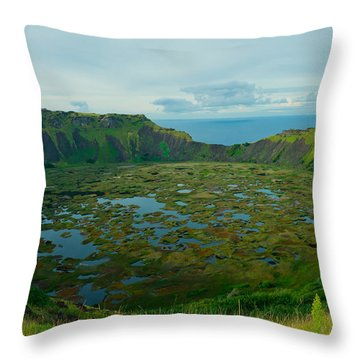 Rano Kau Kau Crater Throw Pillow