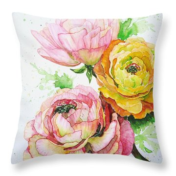 Ranunculus Flowers Throw Pillow by Zaira Dzhaubaeva