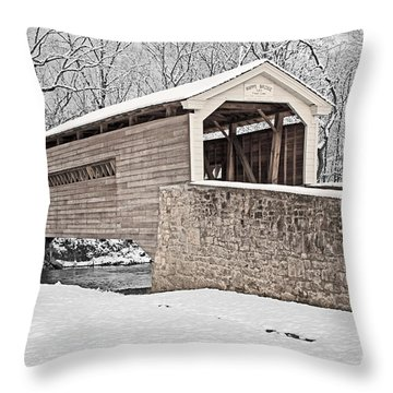 Rapps Bridge In Winter Throw Pillow