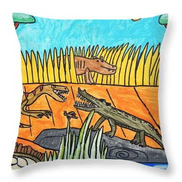 Throw Pillow featuring the painting Raptor Vs Crocodile by Artists With Autism Inc