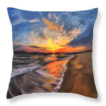 Rare California Sunset Throw Pillow by Angela A Stanton