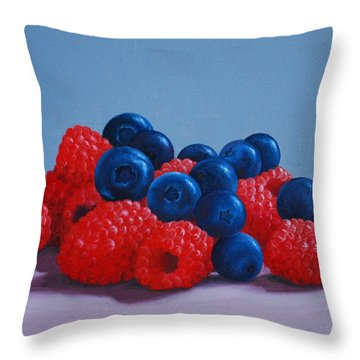 Raspberries And Blueberries Throw Pillow