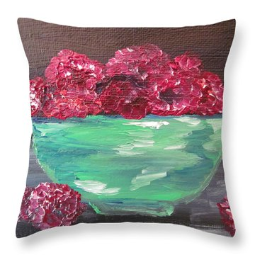 Raspberries In A Bowl Throw Pillow