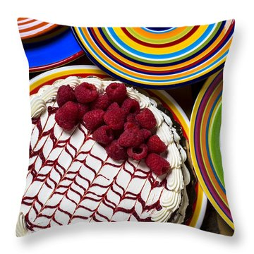 Raspberry Cake Throw Pillow by Garry Gay