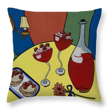 Throw Pillow featuring the painting Raspberry Wine by Barbara McMahon