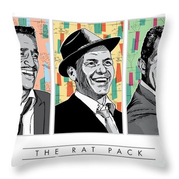 Rat Pack Pop Art Throw Pillow by Jim Zahniser