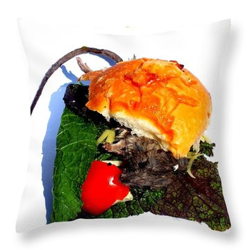 Ratburger With Cheese Throw Pillow