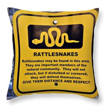 Rattlesnakes Throw Pillow by Susan Leggett