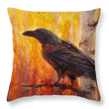 Raven Glow Autumn Forest Of Golden Leaves Throw Pillow