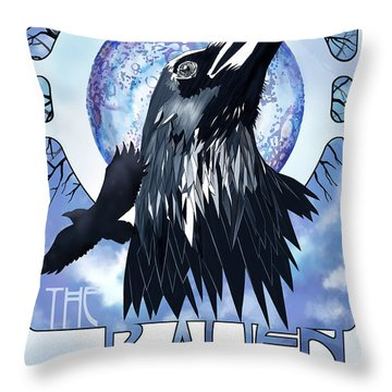 Raven Illustration Throw Pillow