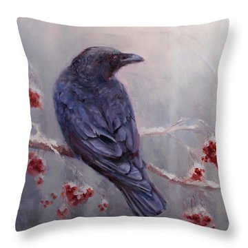 Raven In The Stillness - Black Bird Or Crow Resting In Winter Forest Throw Pillow