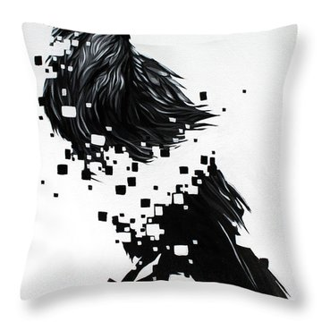 Raven Throw Pillow by Jeremy Scott