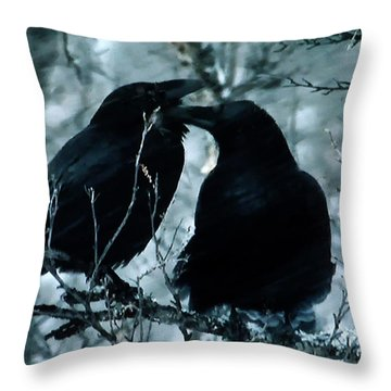 Throw Pillow featuring the photograph Raven Love Chat by Colette V Hera  Guggenheim