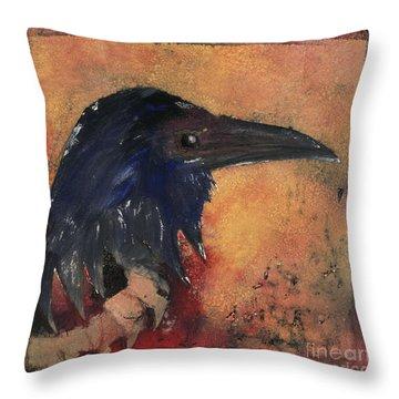 Raven - Middle Ages - Bird Of Ill Omen - Gallows Bird - Scavenger Bird - Fine Art Print -stock Image  Throw Pillow