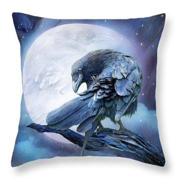 Raven Moon Throw Pillow by Carol Cavalaris