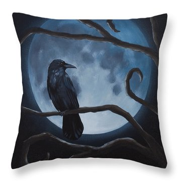 Raven Moon Throw Pillow