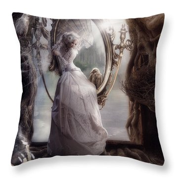Raven Nest Throw Pillow by Cindy Grundsten